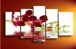 4-Piece-Wall-Art-No-Framed-Modern-Abstract-Flower-Purple-red-Orchid-Picture-Oil-Painting-On
